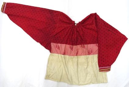 рубаха женская (шерстяная ткань, х/б ткань, фабричная тесьма, ручные и машинные швы)